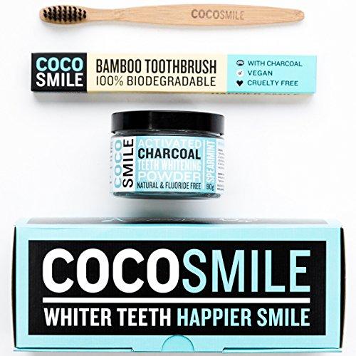 Dentifricio per Sbiancamento Dentale al Carbone Attivo + spazzolino in legno di bambù, Cocosmile