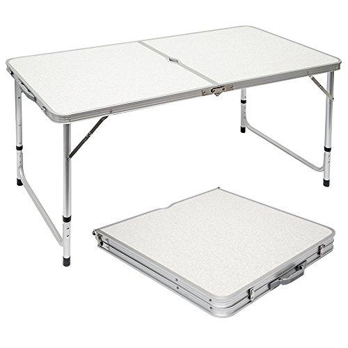 Tavolino da pic-nic/campeggio in alluminio altezza regolabile pieghevole Grigio Chiaro, AMANKA