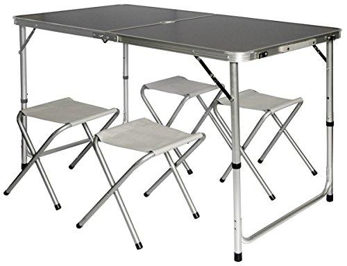 Tavolino da pic-nic con 4 Sgabelli  pieghevole formato valigia, AMANKA