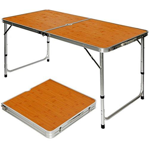 Tavolino da pic-nic in alluminio altezza regolabile pieghevole formato valigia Bambù, AMANKA