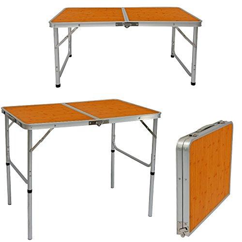 Tavolino da pic-nic o campeggio in alluminio con altezza regolabile e pieghevole, AMANKA