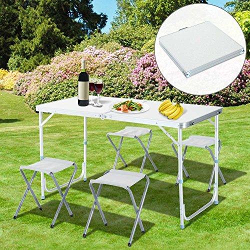 Tavolino in alluminio Pieghevole con 4 Sgabelli Pieghevoli, BAKAJI