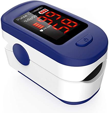 Pulsossimetro da Dito, AGPTEK Saturimetro da dito Portatile Professionale con Display OLED per Frequenza Del Polso e La Saturazione di Ossigeno, Blu